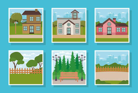 set of houses facades and park scenes vector illustration design