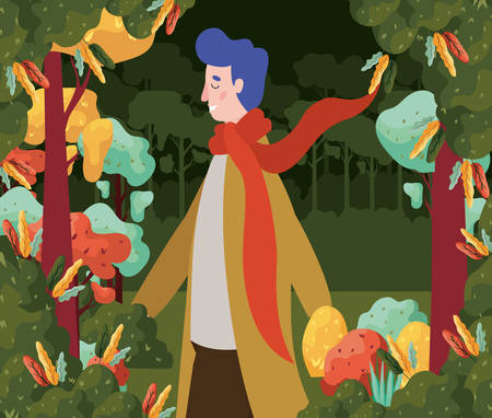 cartoon man with loose scarf in the park with autumn trees, colorful design. vector illustration