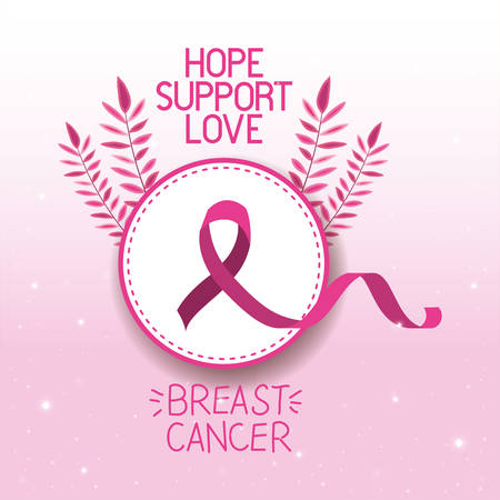 Borstkanker bewustzijn lint campagne vector illustratie ontwerp