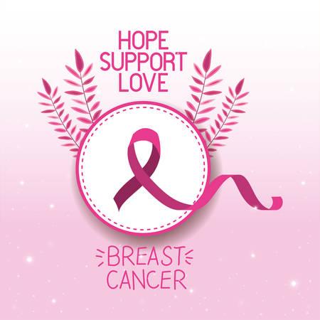 Progettazione dell'illustrazione di vettore della campagna del nastro di consapevolezza del cancro al seno