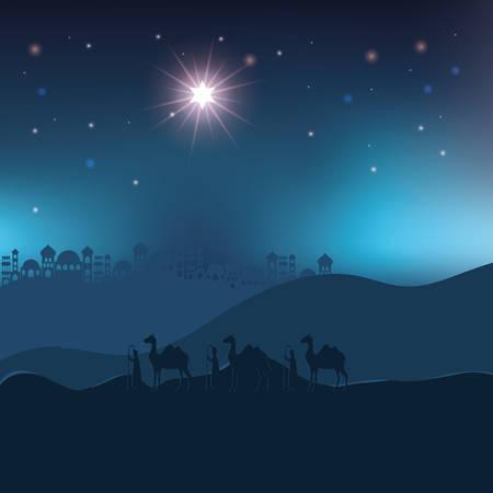king magicians in desert night landscape scene vector illustration design
