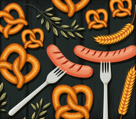 fork with sausages and pretzels and decorative leaves colorful design over dark wooden background, vector illustration