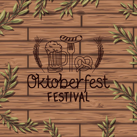 oktoberfest lettering with wreath leafs in wooden background vector illustration design