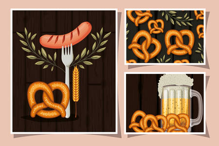 Oktoberfest design with pretzels and beer mug and related icons over pink background, colorful design. vector illustration