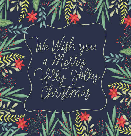 happy merry christmas card with floral decoration and calligraphy vector illustration