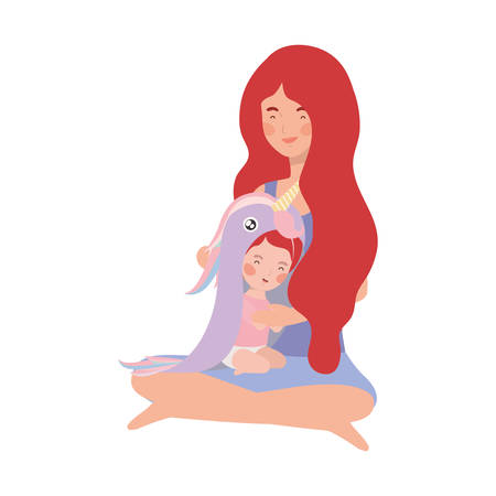 cute pregnancy mother seated with little girl characters vector illustration design Ilustração
