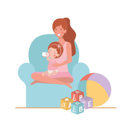 cute pregnancy mother with little girl seated in sofa vector illustration design