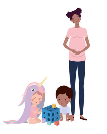 afro pregnancy mother with little kids characters vector illustration design
