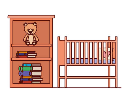 baby cradle and shelving with books vector illustration design  イラスト・ベクター素材