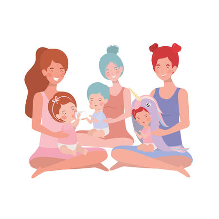 cute pregnancy mothers seated lifting little babies characters vector illustration design Vettoriali
