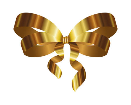 golden bow ribbon decorative icon vector illustration design