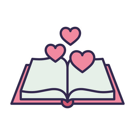 education text book open with hearts vector illustration design