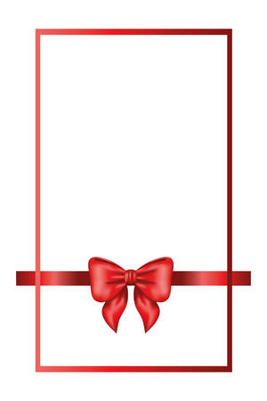 red bow ribbon frame decorative icon vector illustration design