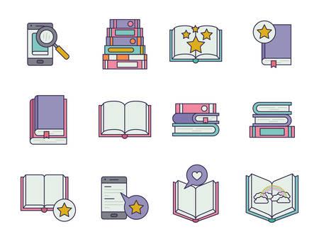 bundle of education text books vector illustration design