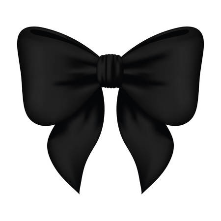 black bow ribbon decorative icon vector illustration design