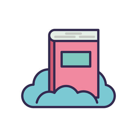 education text book with cloud vector illustration design