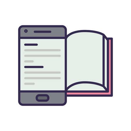 electronic book in smartphone icon vector illustration design Illusztráció