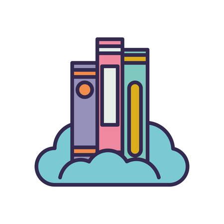 education text books pile in cloud server vector illustration design