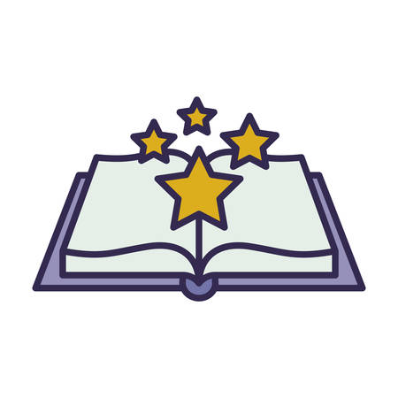 education text book open with stars vector illustration design