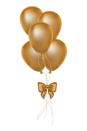 golden balloons helium floating decorative icons vector illustration design Illustration