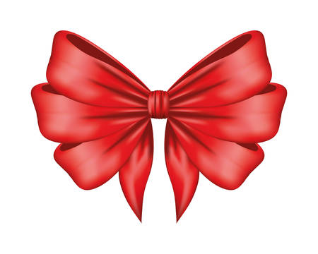 red bow ribbon decorative icon vector illustration design Illustration