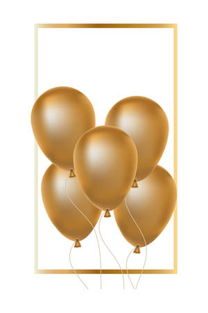 square frame with golden balloons helium floating vector illustration design