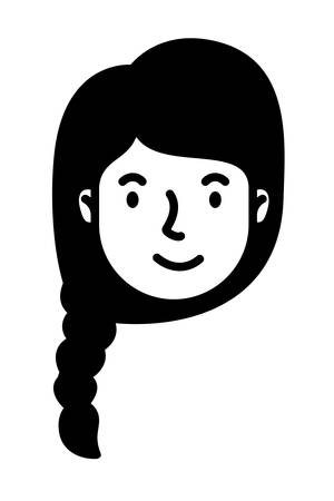 head woman face with horsetail style character vector illustration design