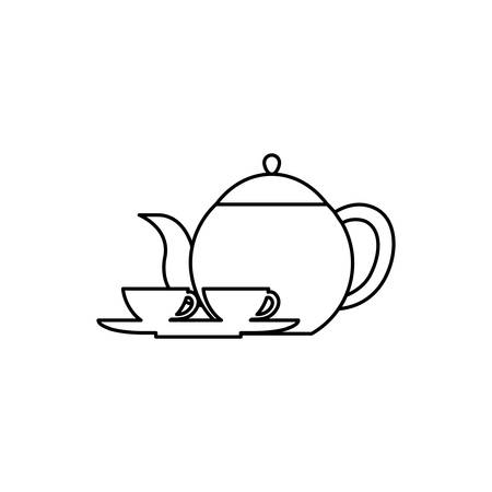 england tea pot and cups utensils vector illustration design