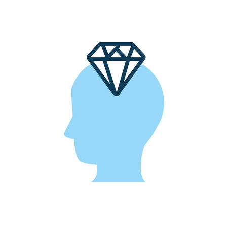 head human profile with diamond vector illustration design