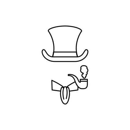 england hat with bowtie and pipe accessoriesvector illustration design Ilustrace