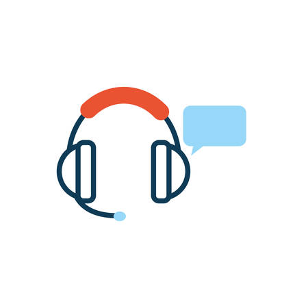 headset with speech bubble message vector illustration design