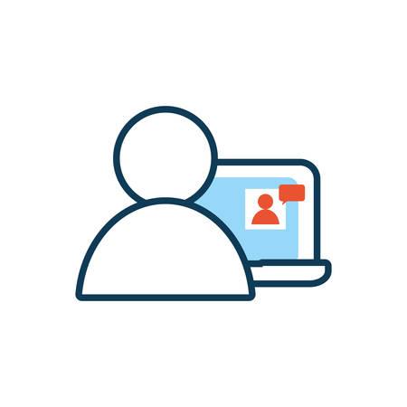 laptop computer with user social media vector illustration design Illustration