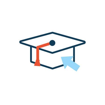 graduation hat with mouse arrow pointer vector illustration design