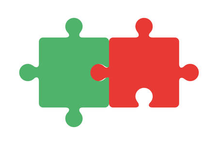 Puzzle-Design, Puzzle-Spiel-Teamwork-Match-Spielzeug-Verbindung und Lösungsthema Vektor-Illustration