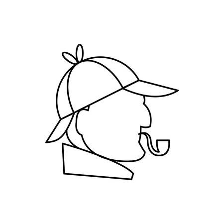england inspector smoking pipe profile vector illustration design
