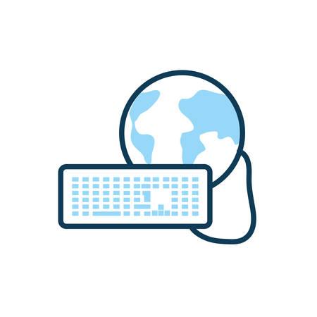 world planet earth with keyboard vector illustration design Иллюстрация