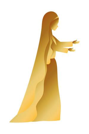golden mary virgin manger character vector illustration design