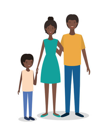cute afro family members characters vector illustration design