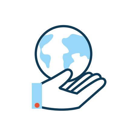 hand lifting world planet earth vector illustration design Иллюстрация