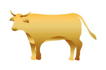golden ox manger animal character vector illustration design Ilustrace
