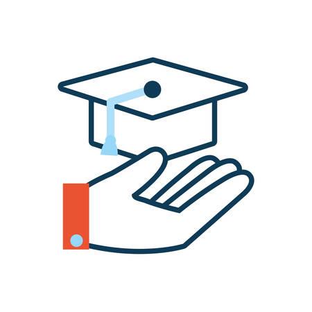 hand lifting graduation hat icon vector illustration design