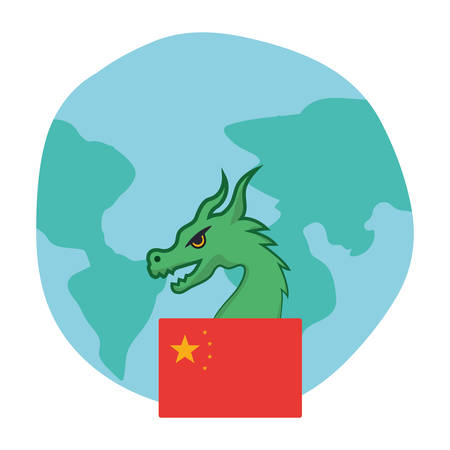 Chinese flag and dragon design, China culture asia traditional famous oriental and landmark theme Vector illustration