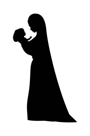 mary virgin lifting jesus baby silhouette manger characters vector illustration design