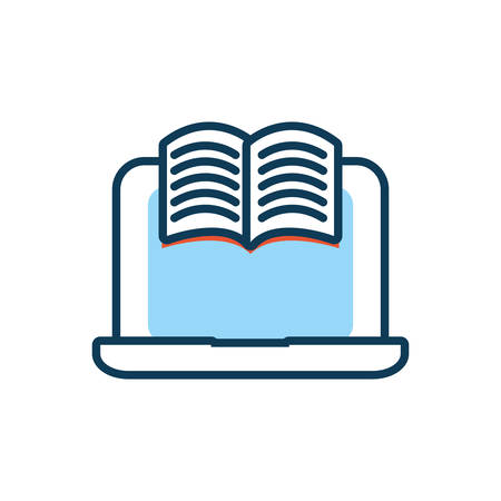 laptop computer with ebook icon vector illustration design