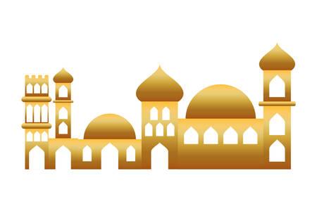 golden manger houses cityscape buildings landscape vector illustration design Çizim
