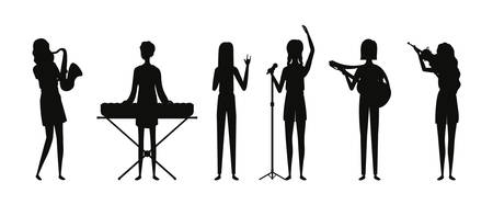 group music band playing instruments silhouettes vector illustration design