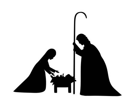 cute holy family silhouette manger characters vector illustration design Stock Illustratie