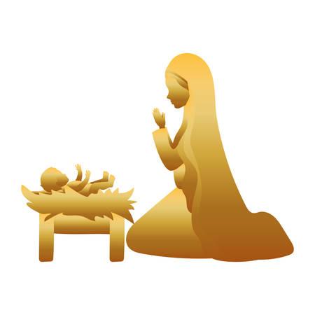 golden saint joseph with jesus baby manger characters vector illustration design