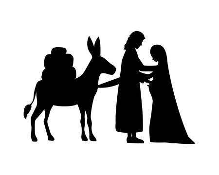 joseph and mary virgin in mule silhouettes manger characters vector illustration