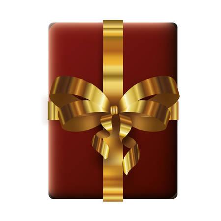 happy merry christmas gift box with golden bow vector illustration design Illusztráció